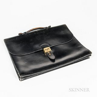Vintage Black Leather Hermes Attache, (some edge wear).