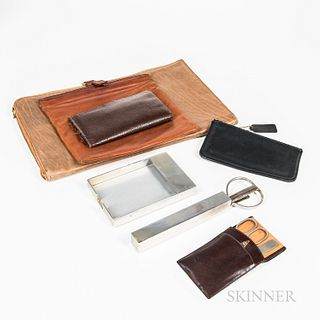 Group of Gentleman's Desk and Personal Items, including cased Cross desk scissors/letter opener set, a small zippered Coach purse, and