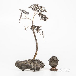 Corey Daniels (20th/21st Century), Gingko Tree Sculpture, cast metal, ht. 17 in.; together with a cast brass finial.