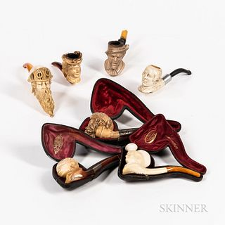 Seven Meerschaum-type Figural Pipes, three with cases.