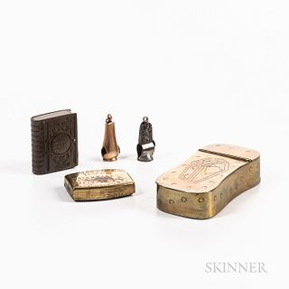 Group of Smoking-related Items, including two cigar notchers, a hinged brass box, a small covered brass box, and a book-form gutta perc