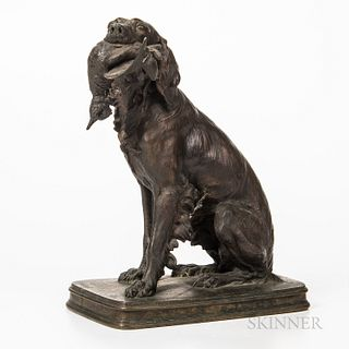 """Cast Bronze Setter with Bird Sculpture, signed """"F Pautrot,"""" ht. approx. 12 in."""