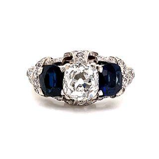 Retro Platinum Diamond Sapphire Ring