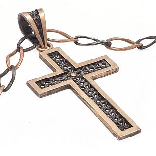Victorian Gold and Silver Cross with Niello Chain