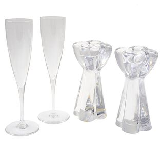Pair of Baccarat Crystal Flutes and Candle Holders
