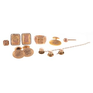A Collection of Men's Cufflinks & Gold Pieces