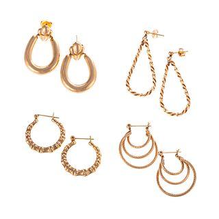 Four Pairs of Hoop Earrings in 14K