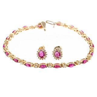 A Ruby & Diamond Bracelet & Earrings in 14K