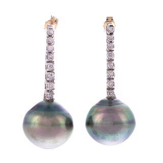 A Pair of Tahitian Pearl & Diamond Earrings in 14K
