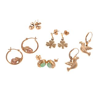 Five Pairs of 14K Yellow Gold Earrings