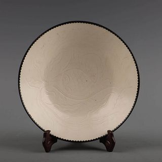 A Ding Kiln Fish Pattern Carved Porcelain Plate