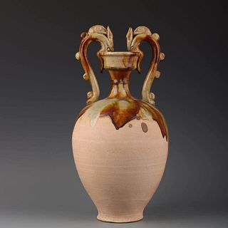 A Tang Tri-colored Porcelain Double Dragon Ears Vase