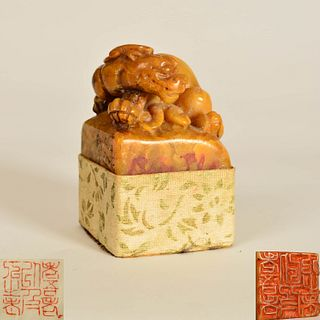 A Shoushan Stone Carved Dragon Handle Seal, Zhao Zhiqian Mark