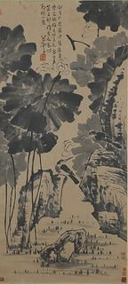 A Chinese Lotus Pond Scenery Painting, Ba Da Shanren Mark