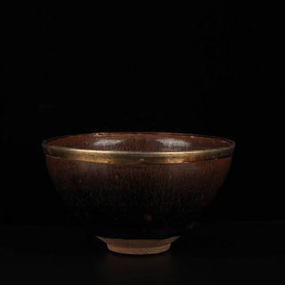 A Silver Mouth Jian Kiln Porcelain Hare's Fur Temmoku