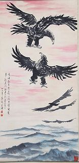 A Chinese Eagles Painting, Xu Beihong Mark