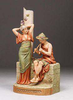 Royal Dux Bohemia Figural Musician c1910