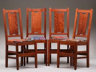 Set of 4 Gustav Stickley H-Back Chairs c1915