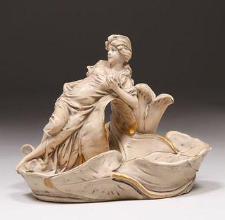 Royal Dux Art Nouveau Maiden Figural Bowl c1900