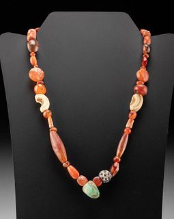 Roman Carnelian, Shell, Coral, Glass, & Stone Necklace