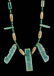 Costa Rican Necklace w/ Emeralds, Gold & Jadeite
