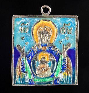 19th C. Russian Enamel Silver Travel Icon Pendant