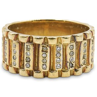 Mens 14K Gold & Diamond Ring