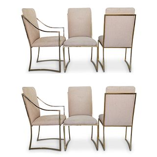 (6 Pc) Milo Baughman Gold Toned Dining Chairs