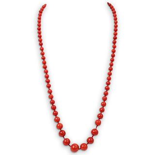 Red Coral Beaded Gold Necklace