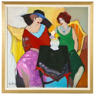"""Itzchak Tarkay (Israel, 1935-2012) """"Two Woman at A Table"""" Oil on Canvas Painting"""