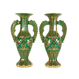 Magnificent Pair of Bohemian Green Gilt and Clear Cut-Glass Vases Alhambra Form