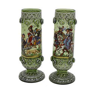 Pair of 19th C. Bohemian Glass Vases