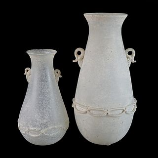 Two (2) Murano Scavo Glass Vases