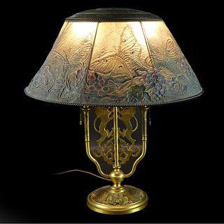 Louis C. Tiffany Lamp w/ Wire Mesh Shade