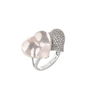 Diamond, Quartz and 18K Ring