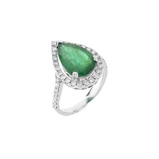 Emerald, Diamond and 14K Ring