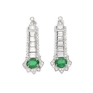 Emerald, Diamond and Platinum Earrings