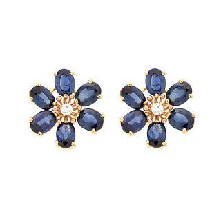 Sapphire, Diamond and 14K Earrings