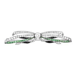 Diamond, Gemstone and Platinum Brooch