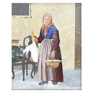 Antique Italian Pietra Dura Plaque