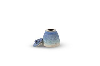 ISKANDAR JALIL   Pottery - Small Pot with Cover in blue
