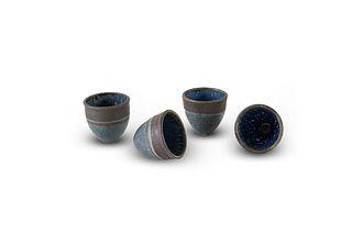 ISKANDAR JALIL   Brown-and-Blue Teacups (4 pcs)