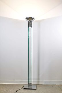Italian Chrome and Glass Midcentury Torchiere