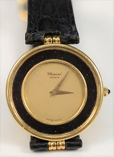 Chopard Geneve 18 Karat Gold Men's Wristwatch with black surround 33.4 millimeters