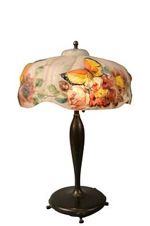Puffy Pairpoint Table Lamp rose and butterfly shade signed Pairpoint Corporation, on Pairpoint signed base with two sockets height 21 inches, shade di