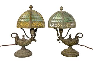 Pair of Diminutive Table Lamps with six sided slag glass shades, on bases with fluid lamp design with face height 12 inches, diameter 6 1/2 inches Pro