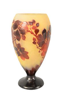 Galle Cameo Art Glass Vase having finely detailed cameo cut roses with leaves, in studies of red with yellow ground marked Galle on the side with grou