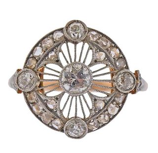 Antique Art Deco 18K Gold Platinum Diamond Ring