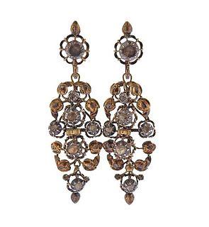 Antique 18K Gold Silver Rose Diamond Drop Earrings