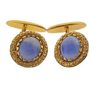 Art Nouveau 18K Gold Agate Cufflinks